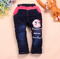 Wholesale Children s Girl Winter plus velvet jeans boy pants one pair of love Little Pig hot explosion models recommended