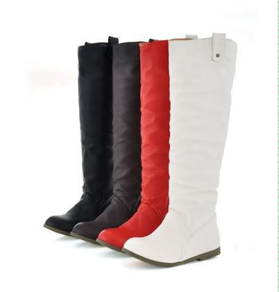 Fashion Lady Girl Women Flat Tall Pull Knee High Leather Boots ...