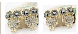 Vintage Retro Fashion Crystal Owl Earrings Charm Jewelry Ear Ring Cartoon Owls Diamond Stud Earrings gifts