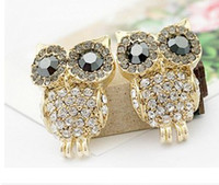 Wholesale Vintage Retro Fashion Crystal Owl Earrings Charm Jewelry Ear Ring Cute Cartoon Owls Diamond Stud Earrings gifts