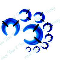 Wholesale MIX sizes Acrylic Buffalo Horn Taper piercing Tunnels Bull Expander Ear Stretcher blue color