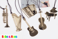 Wholesale Children s stationery New Creative musical instrument designs Metal Bookmark Book marks dandys