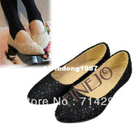 Wholesale Women s Lace Surface Hollow Out Low Heels Pointed Toe Flat Shoes drop Shipping