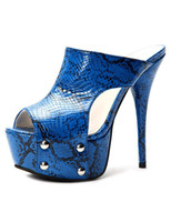 Wholesale Chic Blue Snake Print Stiletto Heel PU Leather Women s Fashion Slides platform wedges shoes u6 eO4