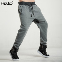 Wholesale Men Harem Sweat Pants Winter Warm Outdoor Sports Jogger Pants Drop Crotch Skinny Leg Casual Trousers For Men Hip Hop Dance