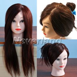 Wholesale Neverland Brown Real Human Hair quot Hairdressing Practice Training Head Mannequin FREE Clamp