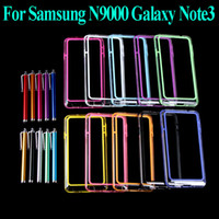 For Samsung TPU White 10 Colors Colorful TPU + PC Bumper Frame Case Cover for Samsung N9000 Galaxy Note 3 III + Stylus Pen Wholesale PA1554