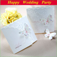 Wholesale Elegant Butterfly Wedding Invitation Card ivory with Heart Embossed with free customized printing design