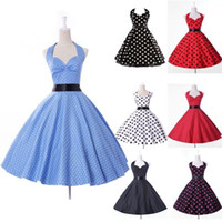 Wholesale Retro Style Celebrity Polka Dots Halter Prom Party Ball Evening Cocktail Dresses CL4599