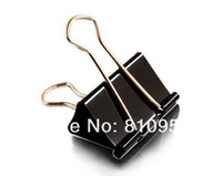 Wholesale 100pcs opp mm Black Metal Documents Binder Clips Memo Clip Office school supplies
