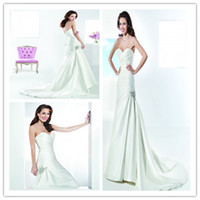 Trumpet/Mermaid Reference Images Sweetheart Demetrios Bride 2014 Wedding Dresses 3209 Sweetheart Bridal Gowns Beaded Sequins Mermaid Brush Train Satin Sleeveless Ruffled Covered Button