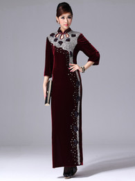 Wholesale Burgundy Crystal Velour Ankle Length Cheongsam Dress for Women party dresses r65 u12 ZwO