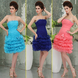 Wholesale Watermelon Pink Blue Beads Pleats Bow Organza Short Prom Dresses In Stock Strapless Short Mini Cascading Ruffles Lace up Party Gowns