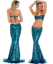 Wholesale Las mujeres atractivas de lujo del partido azul adulto de lujo de la sirena del traje de la falda de la tapa del sujetador