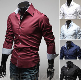 Wholesale Long Sleeved Dress Korean - Free Shipping ! 2015 spring New Fashion Casual slim fit long-sleeved men's dress shirts Korean Leisure styles cotton shirt M-XXL