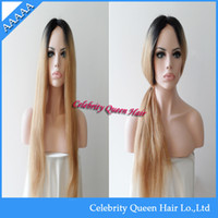 """Cheap New product brazilian human hair straight darkest brown&honey blonde two tone color 8""""-26""""cheap good quality lace front wigs"""