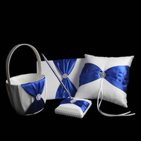 Wholesale Dark Blue Royal Blue Satin Ring Pillow Wedding Ceremoney Set Guest Book Pen Ring Pillow Flower Basket