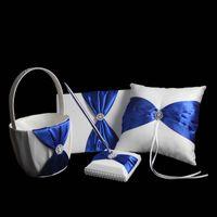 Ring Pillow & Flower Basket Sets basket - Satin Ring Pillow Wedding Ceremoney Set Guest Book Pen Ring Pillow Flower Basket JZ