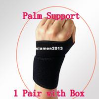 Wrist Support Black Mercerized fabrics, Foam rubber,Lycra Free Shipping Good quality! 1 Pair Wrist Glove Exercise Palm Wrist Strap Hand Support Elastic Brace Sports Adjustable