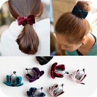 Barrettes & Clips wholesale hair barrettes - OH0353 Korea elegant velvet bow hair accessories banana clip barrette hairpin headdress small jewelry
