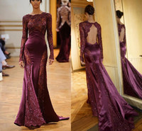 Reference Images Portrait Lace Zuhair Murad See Through Pageant Evening Celebrity Dresses 2014 Dark Red Burgundy Long Sleeves With Lace Open Back Backless Prom Party Gowns