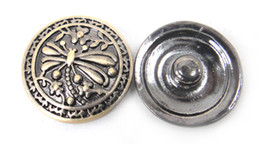 Free drop shipping bronze plating noosa dragonfly button DIY snap noosa metal chunks charm ,for Noosa jewelry