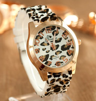 Wholesale New arrival geneva women dress watches leopard print silicone watch gold watches ladies jelly casual watch