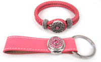 Wholesale Noosa leather bracelet and leather Key Chains For Fashion Gift Jewelry set