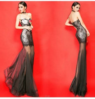Wholesale Hot New black made lace long evening dress bridal party gown prom dress Sexy Lace Bra perspective thin waist fishtail dress