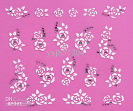 Wholesale - white flowers low price nails stick 3D nail stickers of French manicure 3D nail decal free shipping