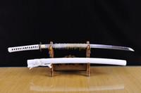 Wholesale ASIASWORDS Real Handmade T10 Japanese White Ninjiato Samurai Katana Ninja Sword