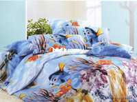 Cheap Wholesale - 100% cotton brand new blue finding NEMO pattern queen bedding comforter quilt duvet covers sets 4pc