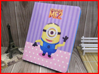 Wholesale New PU Flip Leather Despicable ME ME2 Minion Cartoon protect Cover Credit Card for Apple iPad ipad mini ipad air DHL