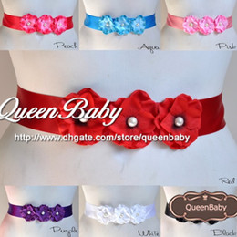 Wholesale Triple Hydrangea flowers Pearl center Sash Belt For Kids QueenBaby Trail Order