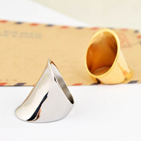 Wholesale Fashion brand punk metal hip hop finger ring silver gold color stainless steel Ring jewelry for cool men women