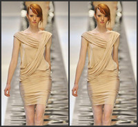 Reference Images V-Neck Stretched Satin 2014 Elie Saab Sexy V-Neckline Sleeveless Ruched Sheath Gold Stretched Satin Short Prom Cocktail Dress