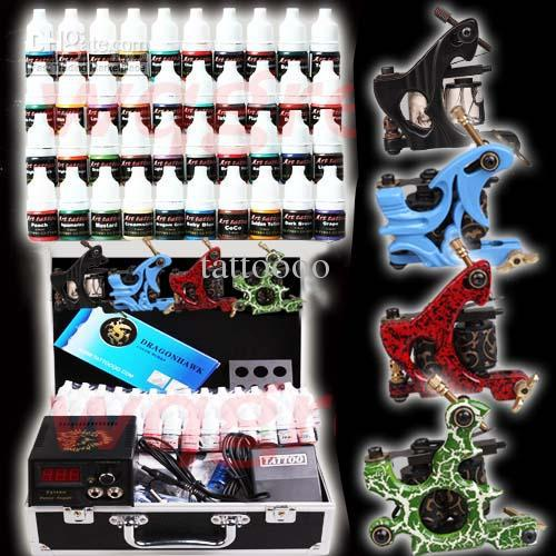 Complete tattoo kits 4 tattoo machines guns tattoo ink for Cheap tattoo ink