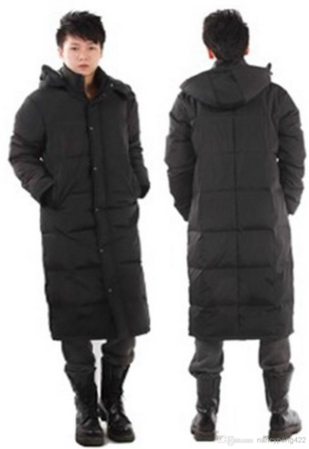 Long Thicken Men Winter Coat Black Down Jacket Plus Size XXL Mens