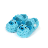 Summer baby light socks - AAA Quality Lovely Hand Crochet Girl Baby Shoes Light Blue Knit Kid Socks Happy Pig Free Ship DMM20