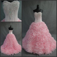Wholesale 2014 Sweetheart Beaded Embroidery Artificial Flowers Ball Gown Corset Floral Rose Pink Organza Sweep train Quinceanera Wedding Prom Dresses