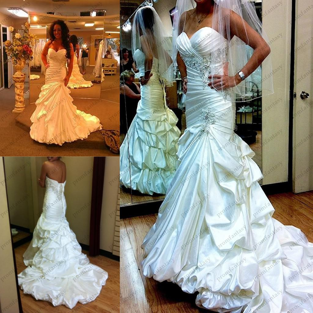 2014 gorgeous satin mermaid wedding dresses under 220 for Strapless wedding dresses with bling
