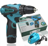 Wholesale Two Speed V Lithium Drill Electric Screwdriver Rechargeable Drill Hand Drill Cordless Screwdr Drop LG0001