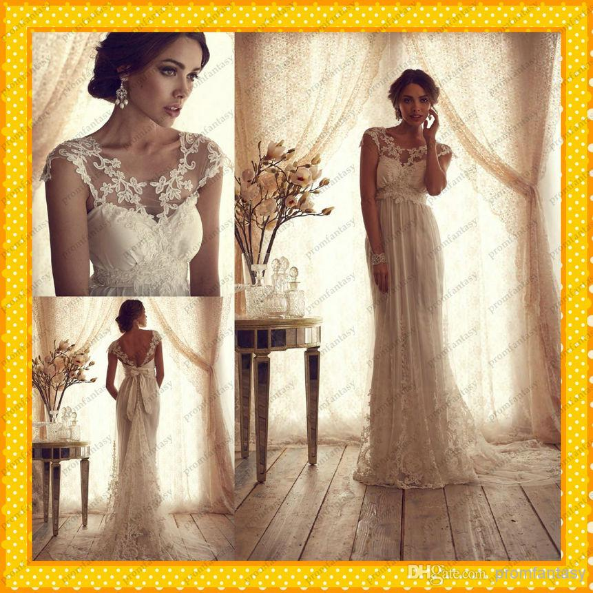 2015 anna campbell vintage lace tulle goddess sheath for Anna campbell vintage wedding dress
