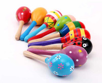 Wholesale Baby Rattles Large Sand Hammer Cartoon Wood Sand Hammer Wooden Rattles Educational children toy T90241