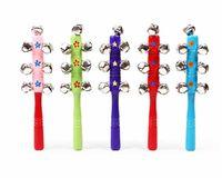 Wooden baby toys pram - KidsHot Cartoon Animal Bell Baby Rattle Rainbow Bells Pram Crib Toys Wooden Bell Shakers Bells Kids Educational Toy Music Instrument T90243