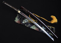 Wholesale ASIASWORDS Hand forged T10 Real Clay Tempered Steel Japanese Warrior amuri Katana Sword