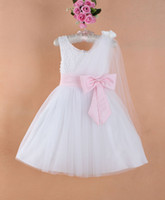 3-8Y beautiful carnival - Beautiful Flower Girl Dress Children Wedding Dress White Dress with Pink Big Bowknot and Ribbon Party Dress Girl s Evening Dress
