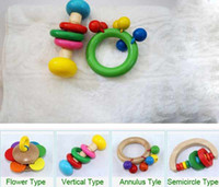 Wholesale Hot Sale Good Quality Semicircular Rainbow Rattles Hand Bell Wooden Toys Educationa Baby Kids Toys styles T90244