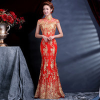 Wholesale Hot Sale Luxury and Elegant Women Lace Silk Slim Chinese Long Cheongsam Dress Improved Red Short Sleeve Bridal Dress sizes