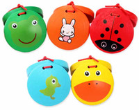 Wholesale Good Quality Music toys educational toys little emperors toy cartoon animal wooden castanets T90245